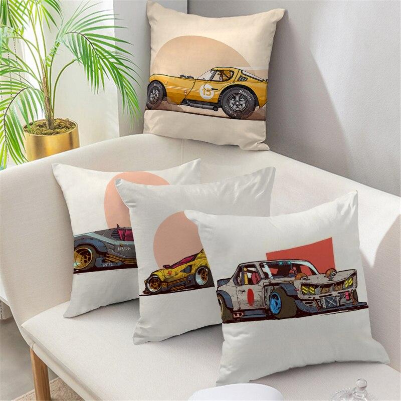 Fuwatacchi Cool Sports Motorcycle Cushon Cover Decorative Pillow Case For Sofa Home Decor Car Company Pillowcase Memorial Gift