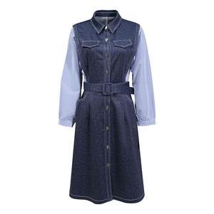 Autumn winter women denim one-step dress European American casual fashionable new Belt patchwork striped Loose Mid length Dress
