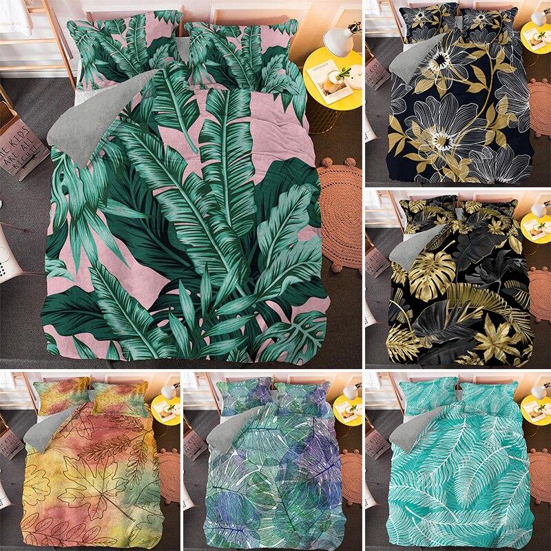مجموعة مفروشات الفراش ثلاثية الأبعاد من نباتات النخيل, مجموعة أغطية لحاف بمقاس كوين وسرير كينج