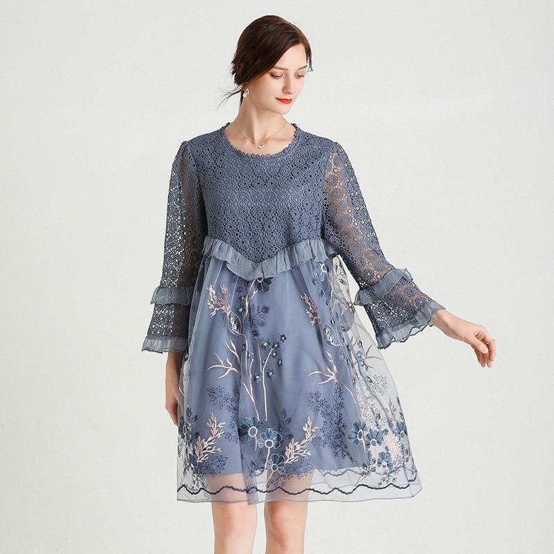Lace Dress Elegant Fashion Party Women Summer 2021Blue Plus Size Flare Sleeve Emboridery Floral  Formal Oversized Dresses 4XL