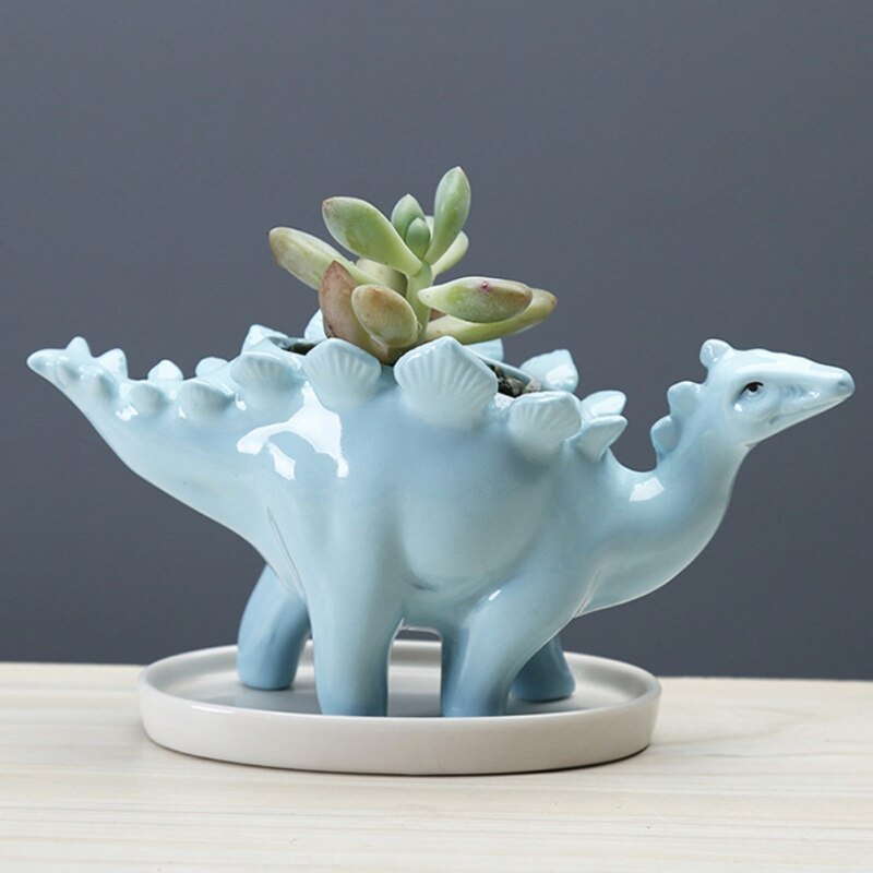 Maceta de dinosaurio creativo de cerámica, maceta de estegosaurus, maceta verde suculento para jardín, decoraciones de escritorio con bandeja