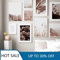 Toile dart mural avec paysage de fleurs et plantes naturelles  affiches de peinture  Style minimaliste  imprimes modernes  image murale pour decoration de maison