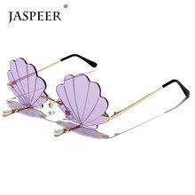 JASPEER – lunettes de soleil UV400 sans monture pour femmes, Vintage, styliste de marque, pompon en perles