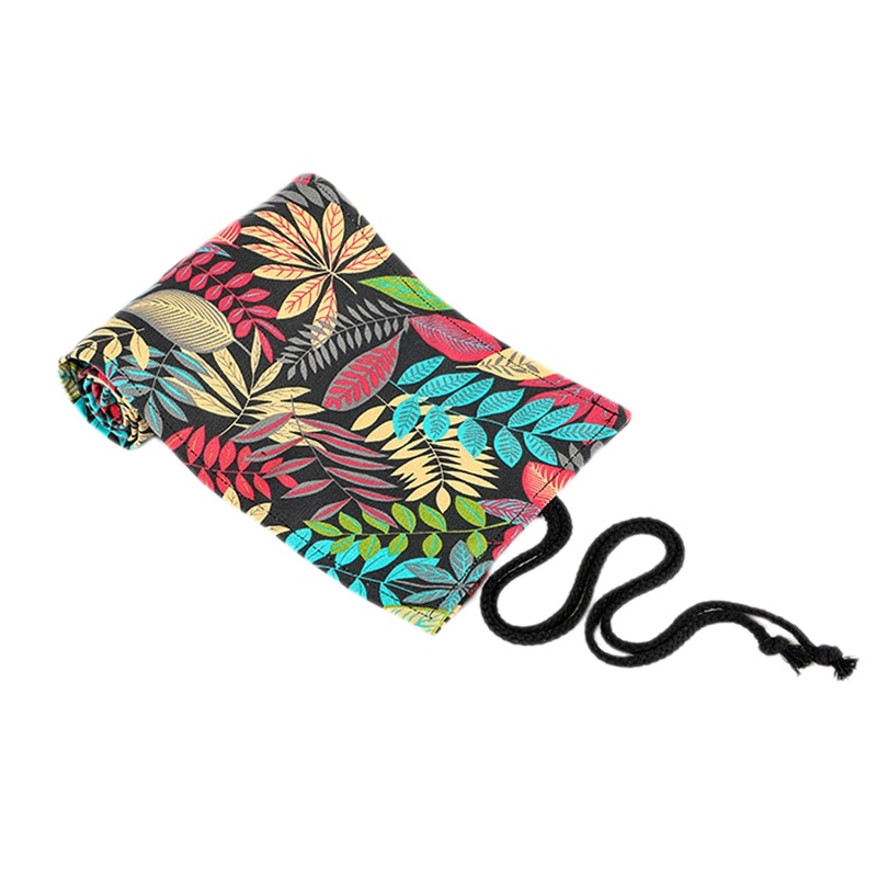 Leaf Print Handmade Canvas Art Pen Curtain 72 Holes Large Capacity Pencil Case Color Lead Sketch Stationery Bag
