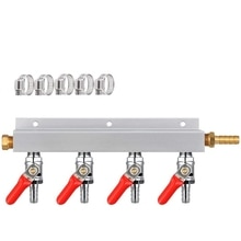 Collecteur de gaz, distributeur de gaz CO2, séparateur de Kegerator de bière 5/16 pouces, distributeur dair à 4 voies avec colliers de serrage