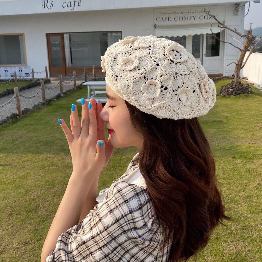 202005-YC2171 nueva flor manual de gancho de Crochet tejer boina para señora de ocio de las mujeres pintor sombrero