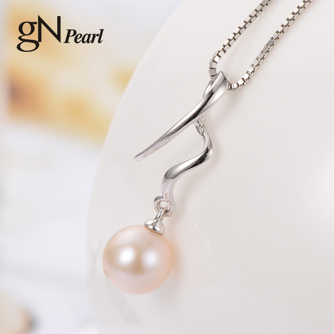 gN Pearl Genuien 925 Sterling Silver Natural Freshwater Pendants Necklaces 7-8mm Round Chain gNPearl Jewelry for Women