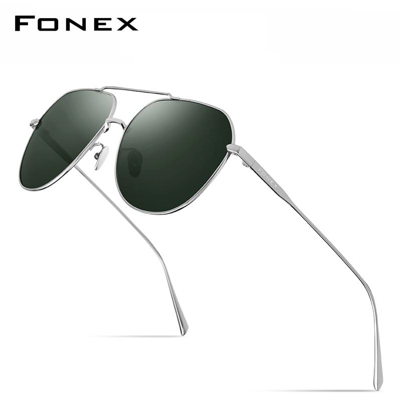 FONEX التيتانيوم النقي الاستقطاب النظارات الشمسية الرجال العلامة التجارية تصميم مربع نظارات شمسية للرجال 2019 جديد القيادة في الهواء الطلق UV400 ظ...