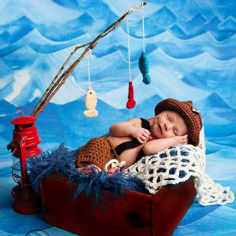 Children's Knitted Fisherman Photographing Costume Baby Full Moon Hundred Days Fisherman's Wool Photography Suit