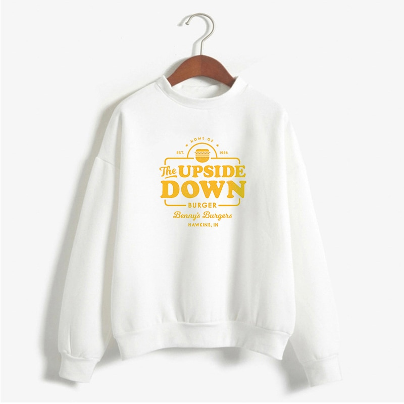 LUSLOS 2019 de talla grande ropa de mujer de manga larga abrigo de otoño inverso foraser Things Hoodie sudadera de calle blanca