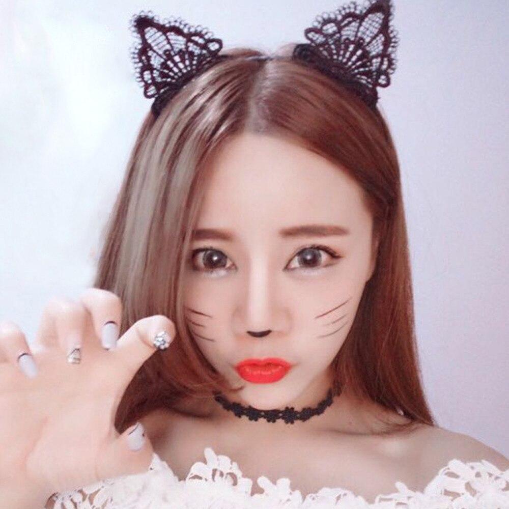 Women Lace Lovely Cat Ear Head Chain Jewelry Hair Band Holiday Head Headband Girl Bunny Ears Headwear Hair Accessories 2020 New