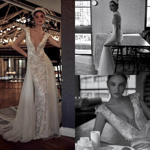 Sexy Beach Wedding Dresses With Detachable Train Lace Appliques Glitter Abiti Da Sposa Custom Made Backless Boho Wedding Gowns