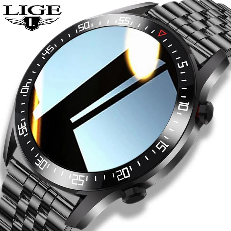LIGE 2021 رجل فاخر بلوتوث Smartwatch معدل ضربات القلب مراقبة ضغط الدم IP68 مقاوم للماء الرياضة اللياقة البدنية ساعة ذكية للرجال