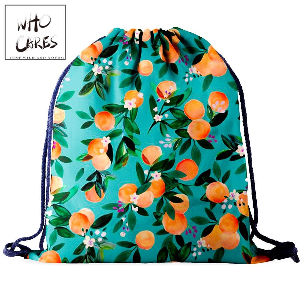 Who Cares Natural Drawstring Bag Backpack Women Shopping Bag Casual 3D Printing Outdoor Travel Bag Portable Shoe bag For Gym