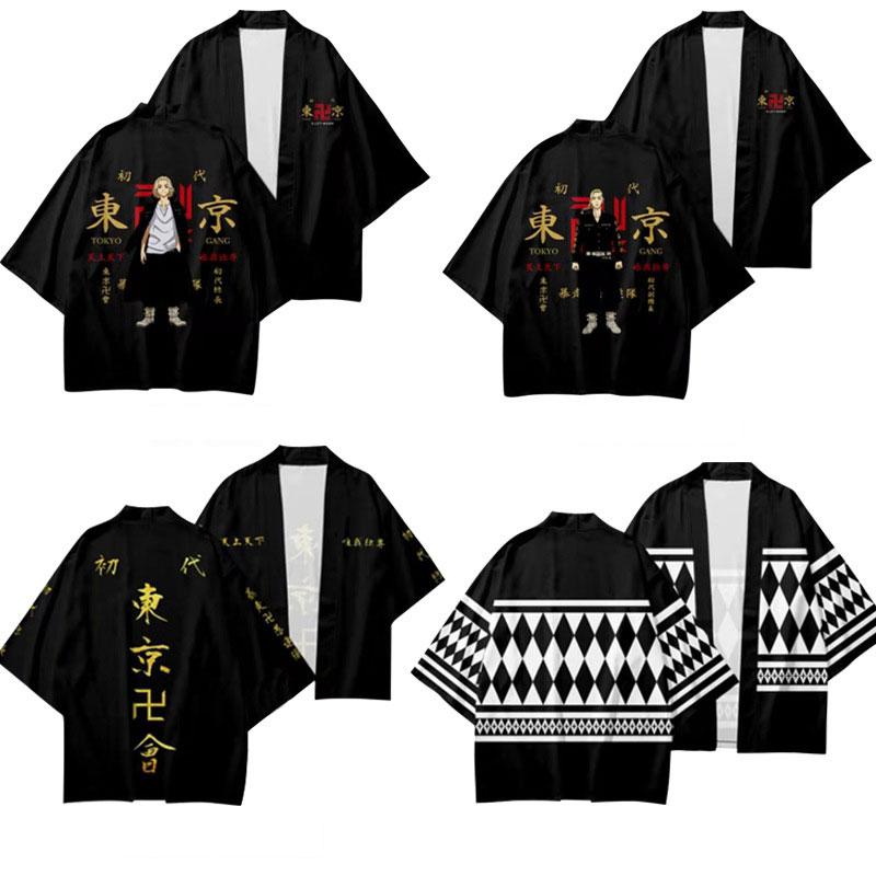 Anime Tokyo Avengers Cosplay T-shirt Cloak of Draken Manji Gang for Summer Haori Kimono Tee Men Short-sleeve