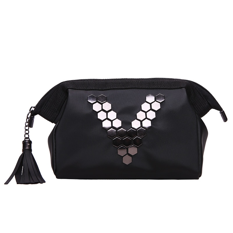 Women Travel Black Letter V Cosmetic Bag Zipper Make Up PU Leather Makeup Case Organizer Storage Pouch Toiletry Beauty Wash