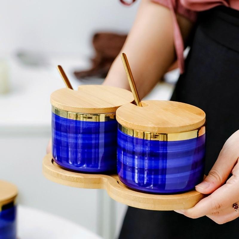 4 Uds arte japonés de Phnom Penh de China de hueso azul condimento hierba casa sal azúcar olla vinagre, salsa de soja botella de suministros de cocina