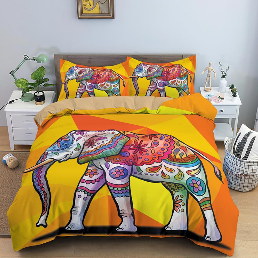 بوهو الفيل الفاخرة الفراش مجموعات الملك الحجم 2/3 قطعة مخدر حاف مجموعة غطاء مع المخدة الهبي لحاف يغطي أغطية سرير