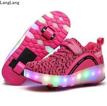 LED 가벼운 운동화 두 바퀴 소년 소녀 롤러 스케이트 캐주얼 신발 롤러 소녀 Zapatillas Zapatos Con Ruedas Pink
