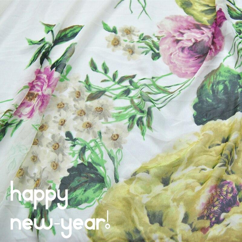 LEO y LIN gran amplia flor grande 100% Georgette de seda de gasa de primavera y verano falda de tela para manualidades, costura