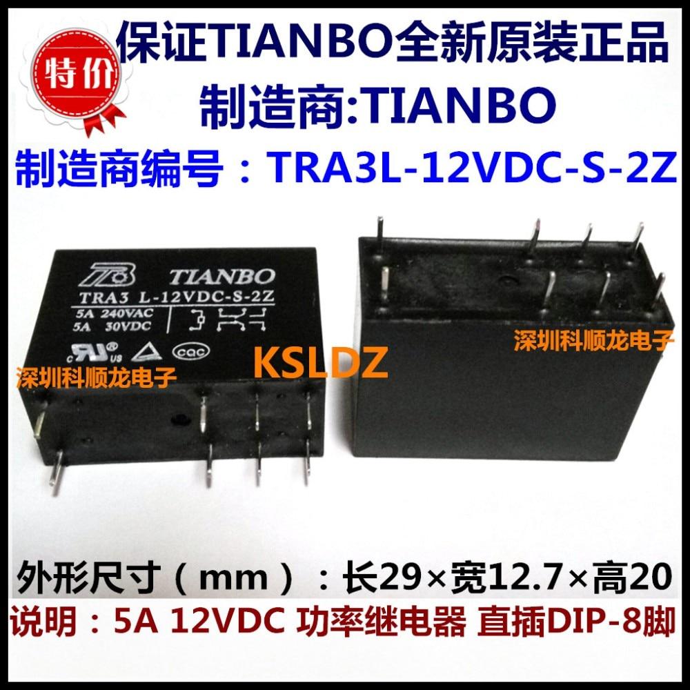 100% Original Novo TIANBO TRA3 L-12VDC-S-2Z TRA3L-12VDC-S-2Z TRA3L-24VDC-S-2Z TRA3 L-24VDC-S-2Z 8 PINOS 5A 12VDC 24VDC Relé de Potência