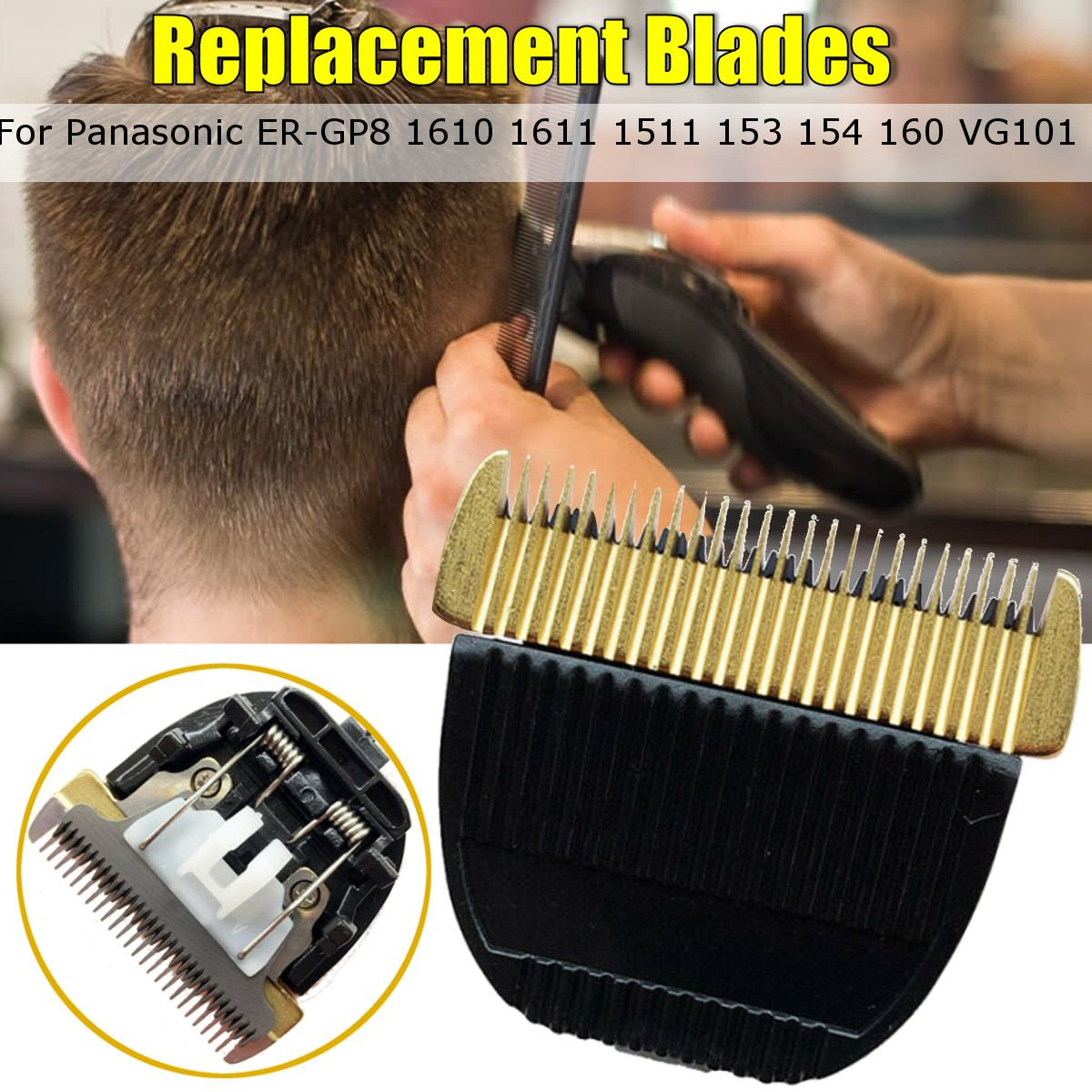 Substituição de titânio cerâmica lâminas clipper para panasonic ER-GP8 1610 1611 1511 153 154 160 vg101 cortador cabelo grooming trimmer
