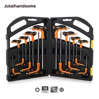 16PC T-Handle Hex Key Wrench Set Hex Metric H2 H2.5 H3 H4 H5 H6 H8 H10 Torx T10 T15 T20 T25 T30 T30 T40 T45 T50 CRV Hand Tool