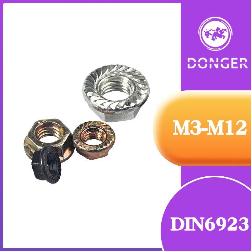 10/20 piezas DIN6923 m3 M4 M5 M6 M8 M10 M12 tuercas de brida hexagonales de Zinc Pinking Slip Lock Nut HW014