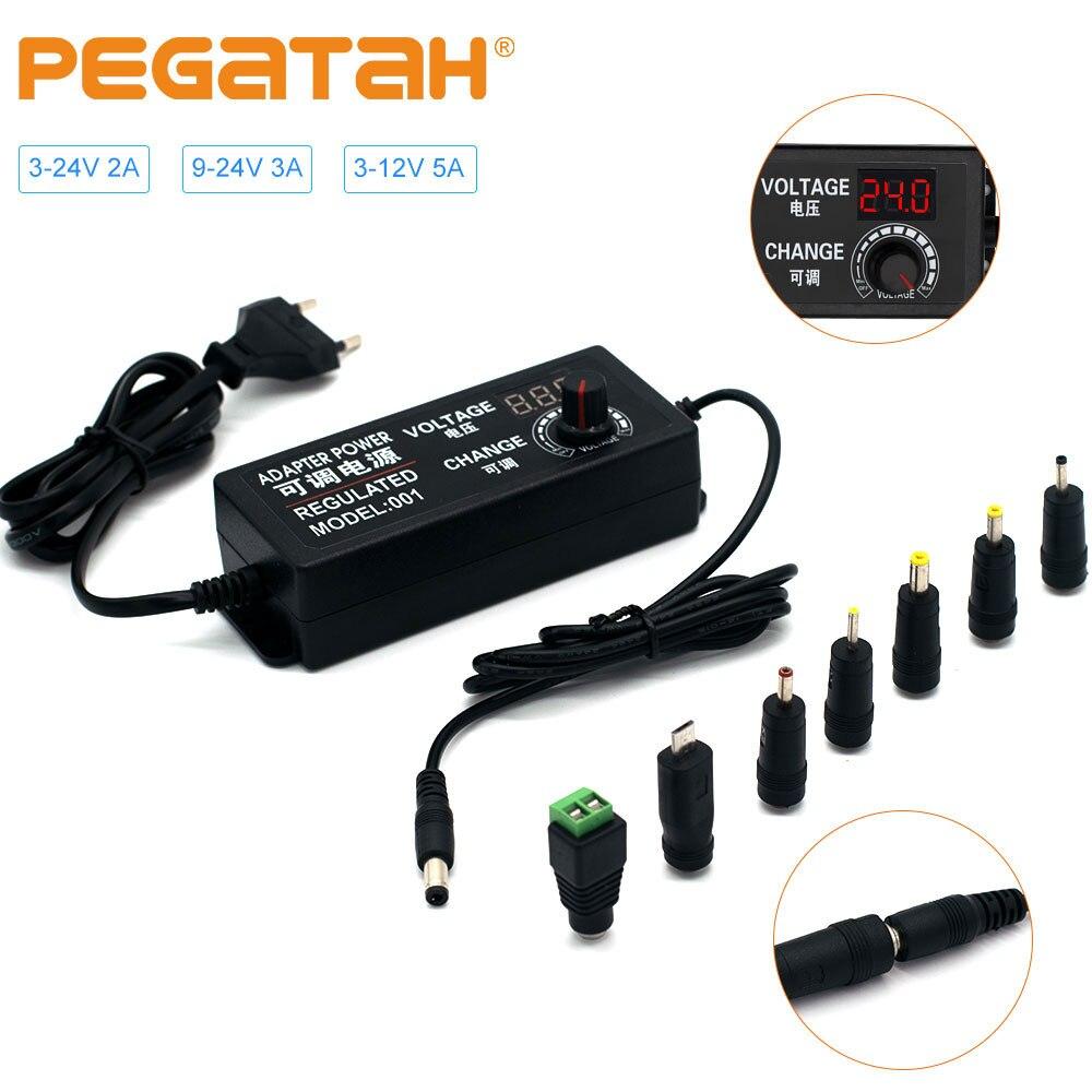 Adjustable power adapter AC to DC 3V-12V 3V-24V 9V-24V Universal display screen voltage Regulated power supply adatpor 3 12 24 v