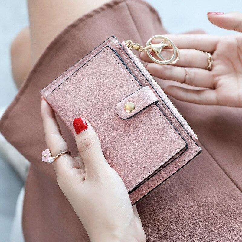Модные женские маленькие кошельки, женские Мини-Кошельки из искусственной кожи, дамские многофункциональные тонкие короткие кошельки на м...