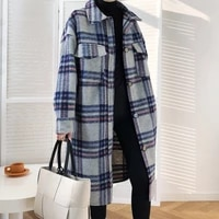 autumn and winter korean style mid length thickened woolen plaid coat retro profile plaid wool coat women