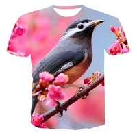 2021 summer new 3d t shirt casual short sleeved o neck top fashion harajuku parrot animal pattern clothing plus size top