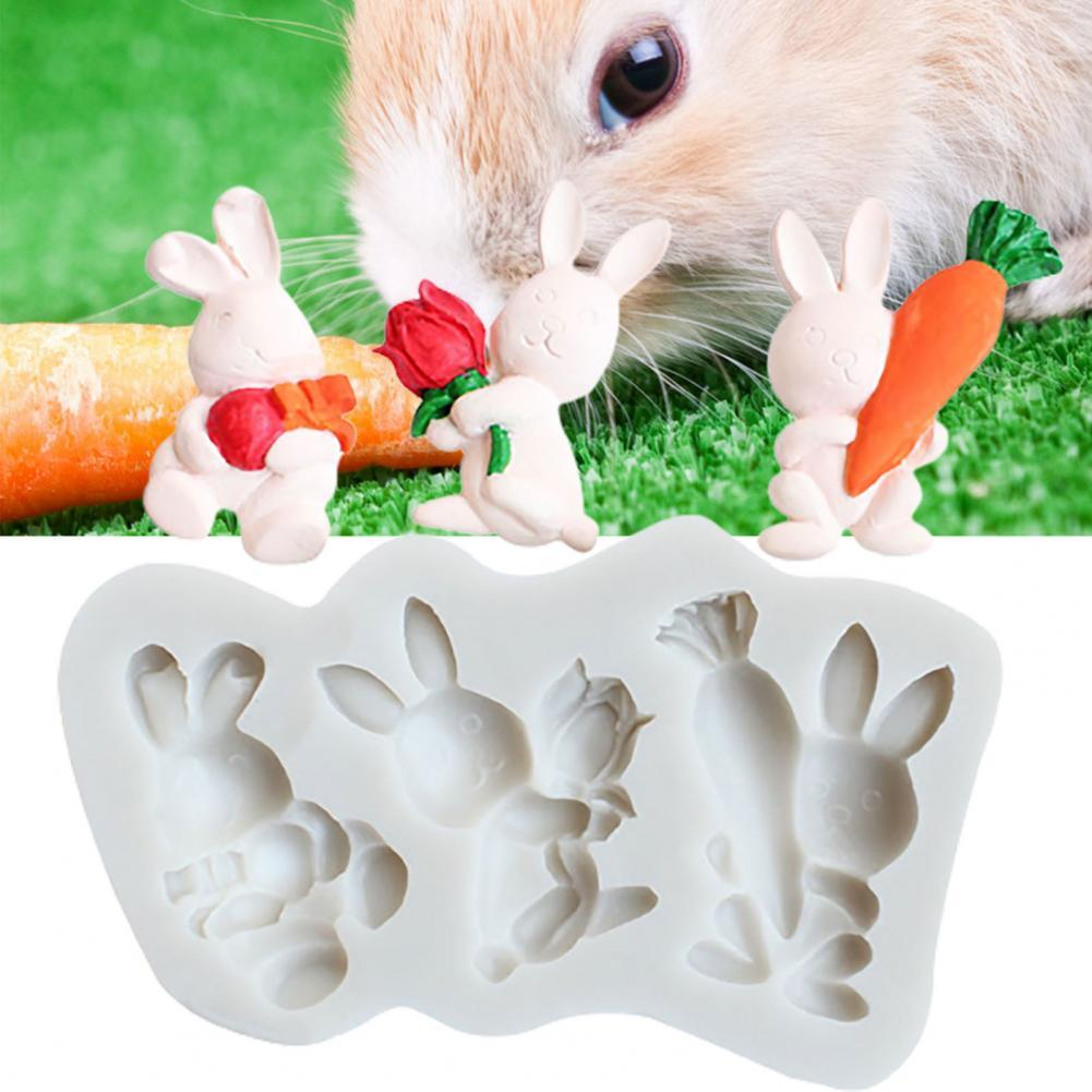 80% Hot Sales!!! Chocolate Mold Reusable Temperature Resistance Silicone 3 Cavity Easter Rabbit Baking Mould for Kitchen