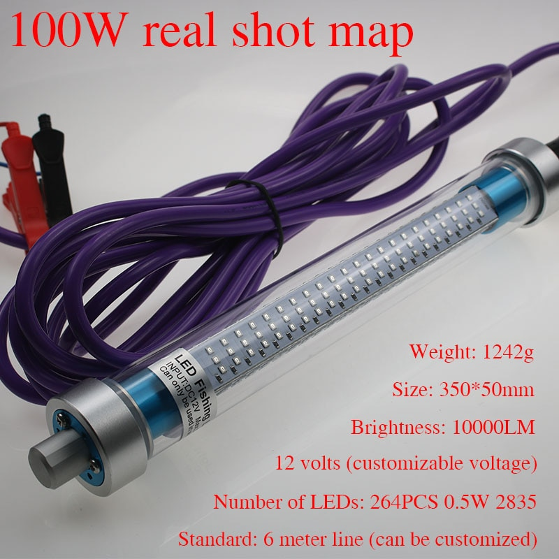 12V 100W 10000 Lumens LED Submersible Fishing Light 6 Sides Underwater Fish Finder Lamp with 6m Cord enlarge