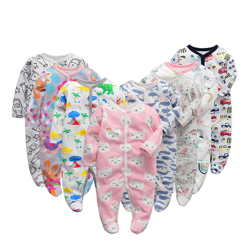 2020 3pcs/set Baby Boy Girl Rompers Long Sleeve Footies Newborn Clothes One Pieces Infant Sleepsuit Baby Cotton Romper 0-12m