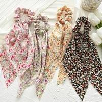 floral print bow satin long ribbon ponytail scarf hair tie scrunchies women girls elastic hair bands hair accessories hair ring