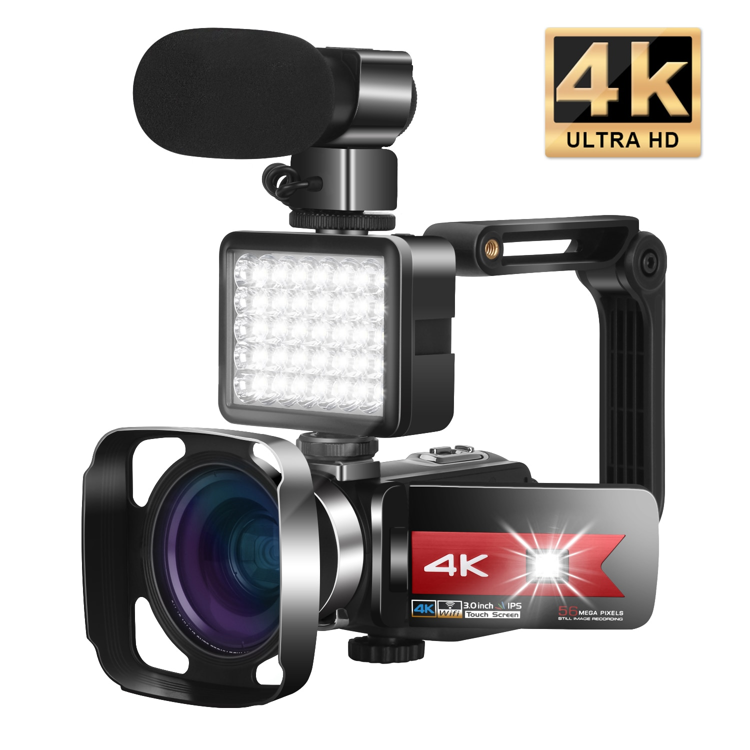 Video Camera 4K Vlogging Camcorder for Live Stream WiFi Webcam Remote Control Night Vision Touch Scr