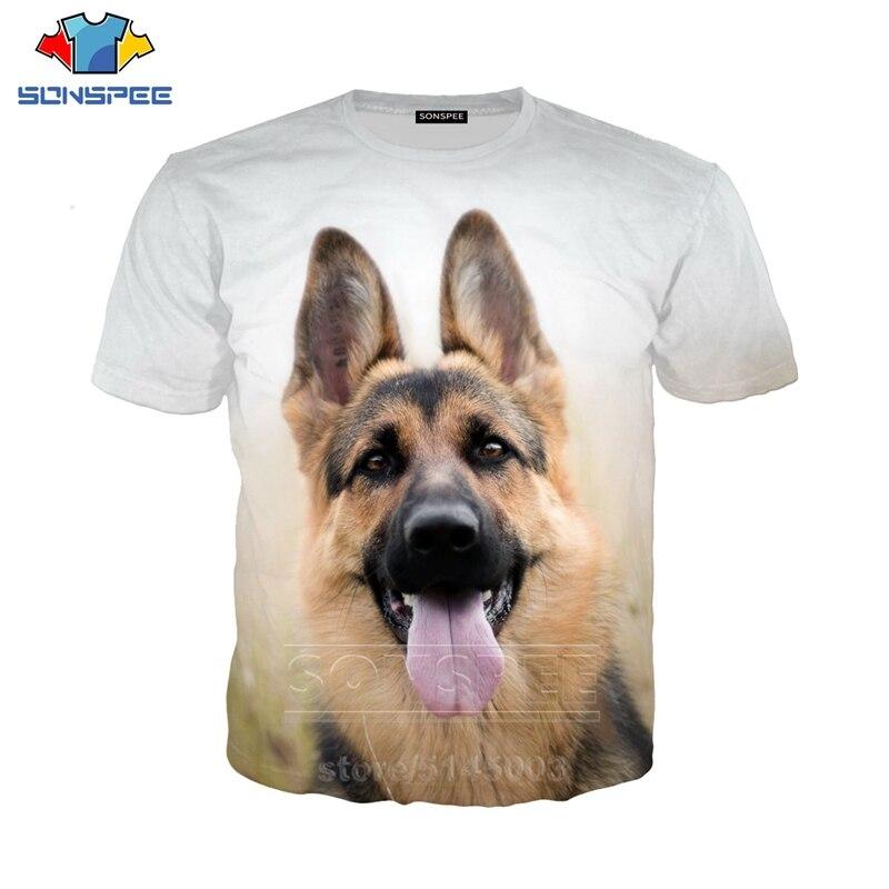 Pastor Alemán perro T camisa de los hombres las mujeres camiseta Animal 3D manga corta sudaderas Unisex de Hip Hop O cuello C107-02