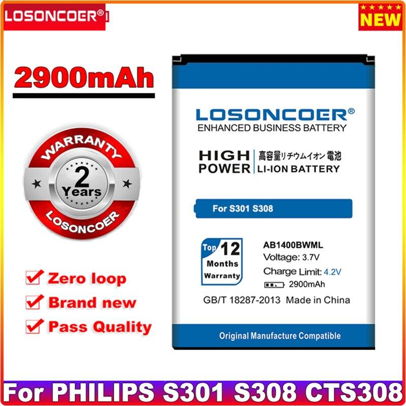 Losoncoer 2900 mah ab1400bwml bateria para philips s301 s308 cts308 baterias de celular