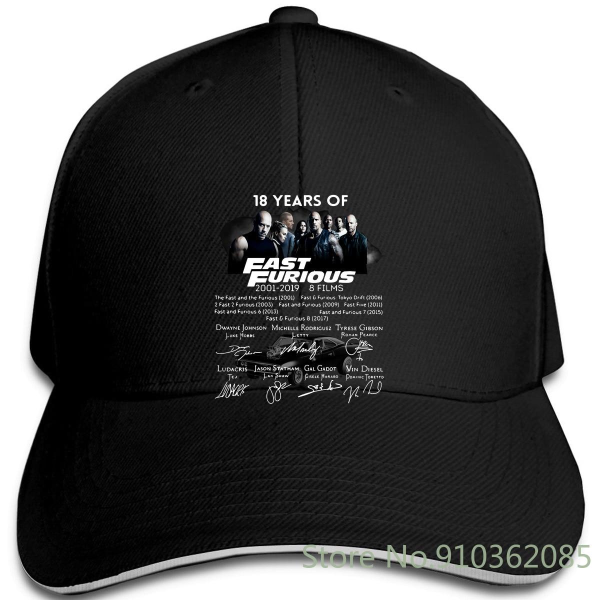 18 años de Fast Furious 2001-8 películas de firma negro-Azul marino Unisex diferentes colores gorras ajustables gorra de béisbol hombres mujeres