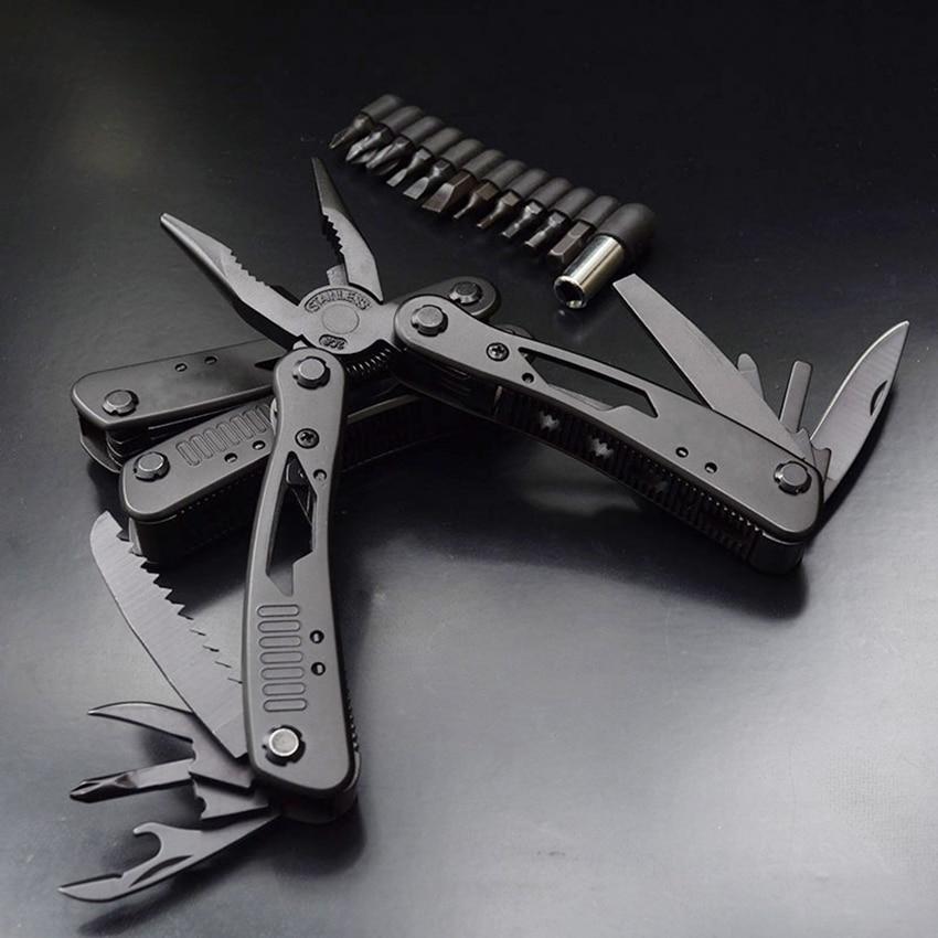 Herramientas de cuchillo con cabezales de extensión juego alicates plegables de supervivencia al aire libre Camping pesca cuchillos de cazador alicates multifuncional