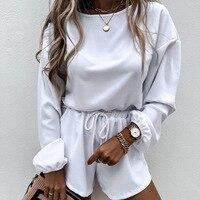 White Sweater shorts suit Fashion leisure Streetwear clothing Women Black Full Sleeve O-Neck shirt Womens Two piece set Summer