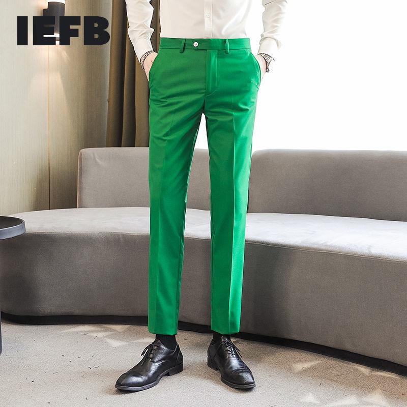 بنطلون مناسب مناسب للعمل مقاس كبير للرجال من IEFB بمقاس 10 ألوان أخضر أرجواني كاكي أسود أبيض أصفر بطول الكاحل موديل 9Y8330