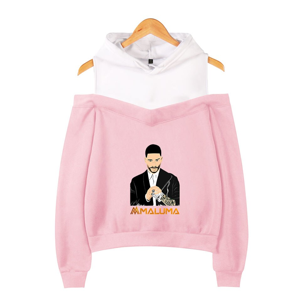 Maluma Off-the-ombro 3D hoodie Das Mulheres Dos Homens New hot Moda Imprimir o cantor Colombiano Maluma 3D capuz Strapless casacos de ombros topo