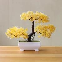 Plantes artificielles bonsai vertes 1 piece  petit arbre dart deco maison jardin bureau  fausses plantes en plastique avec fournitures artisanales vertes en pot