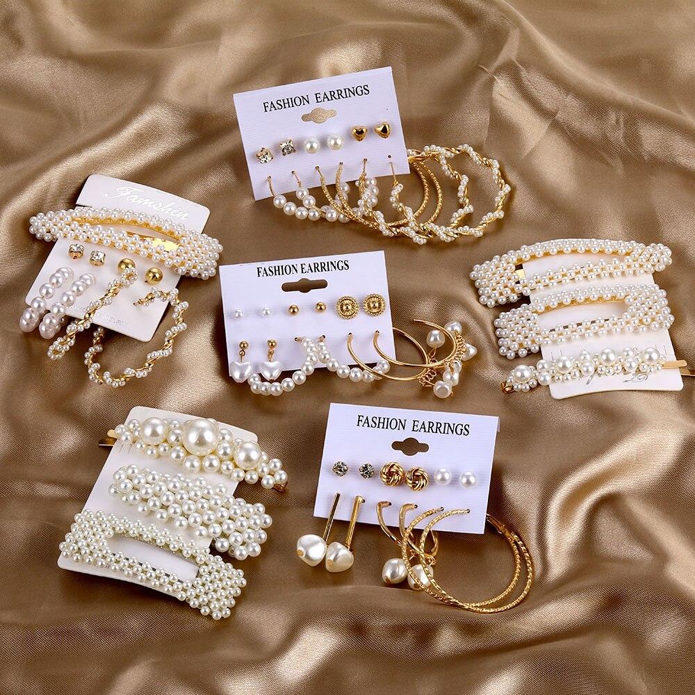 ZOVOLI nuevo Vintage conjunto de joyería para mujer chica Bohemia pelo Clips y pines 2020 conjunto de pendientes de perlas joyería de oro Brincos