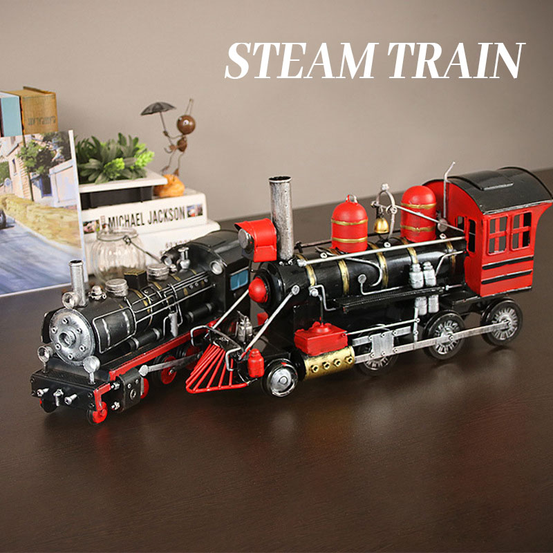 Kids Retro Steam Train Model Simulation Classical Freight Train Locomotive Toys Home Decoration Office Ornament Adult CraftsGift