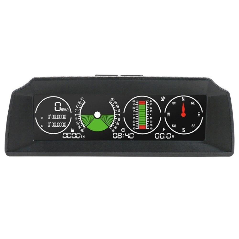 HUD Head Up Display Automotive GPS Over Speed Warning Inclinometer Pitch Tilt Angle Protractor Clock Speedometer Car Universal