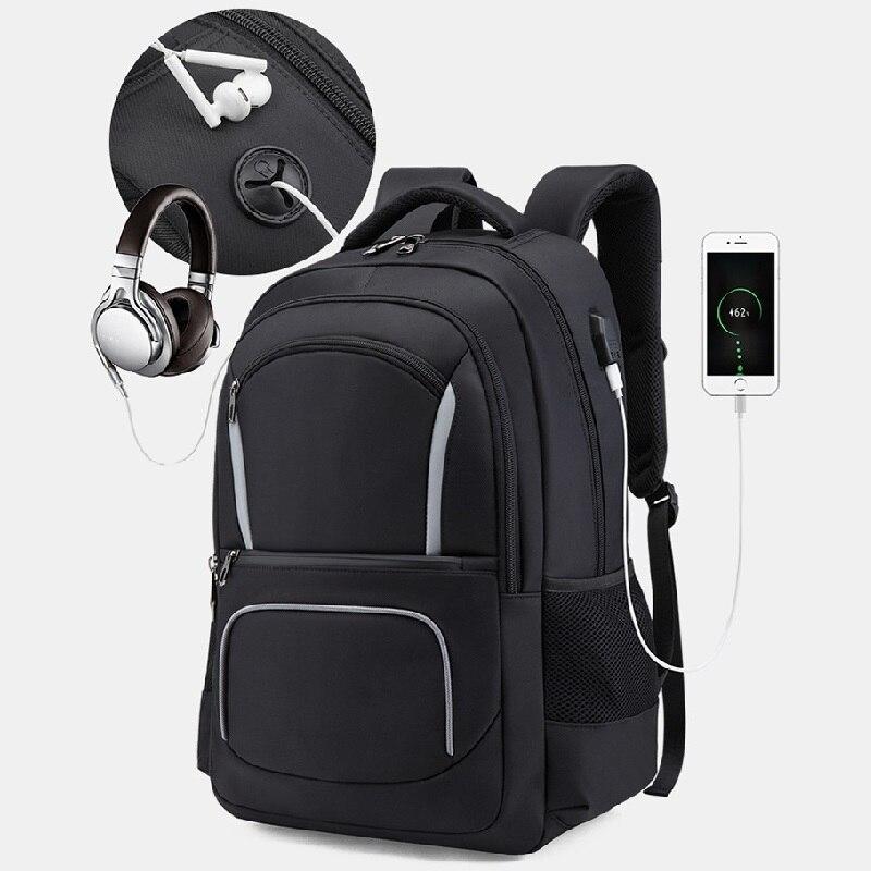 مقاوم للماء حقيبة ظهر كبيرة 17.3 17 بوصة محمول على ظهره الرجال الأعمال السفر متعددة الوظائف على ظهره حقيبة سفر الذكور أسود رمادي