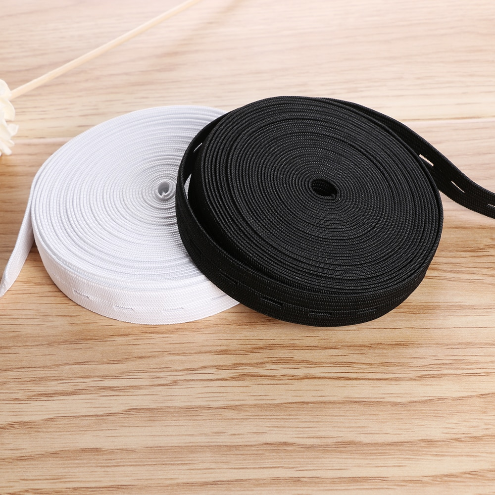 2cm Breit Taste Loch Knit Elastische Band Band Band Weiß/Schwarz Gewinde Elastische Gurtband Handwerk DIY Nähen Zubehör